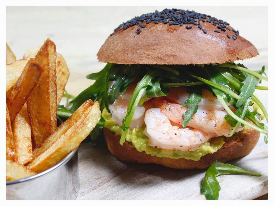 hamburger di mazzancolle e avocado