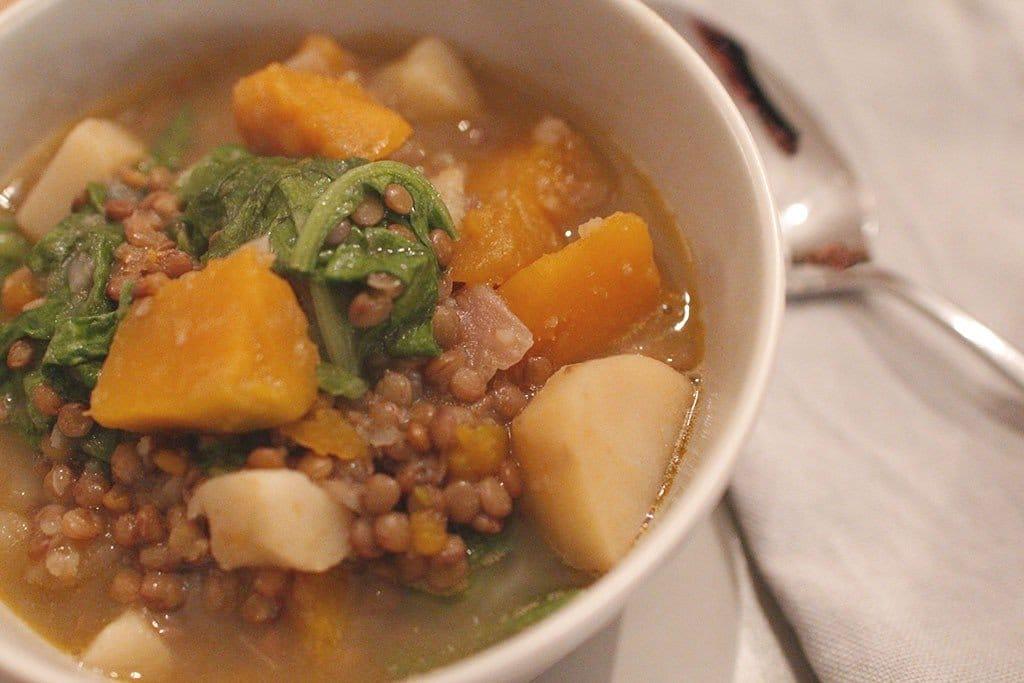zuppa di lenticchie zucca e patate