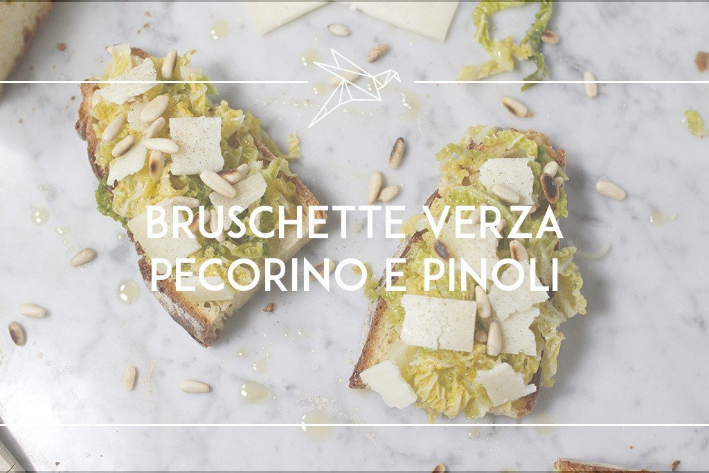 bruschetta verza pecorino e pinoli