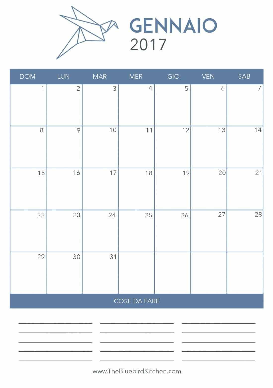 Calendario Gennaio.Calendario Gennaio 2017 The Bluebird Kitchen Food