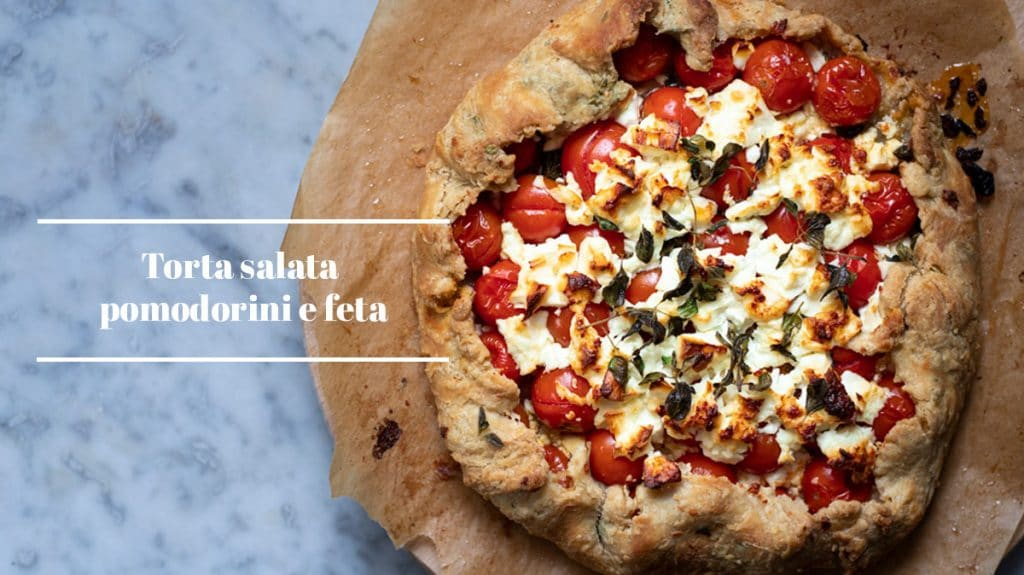 torta salata con pomodorini e feta